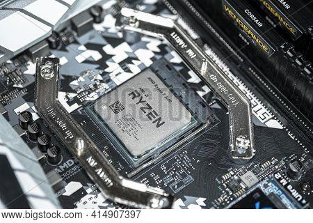 Rome, Italy - March 30 2021: Amd Ryzen 3600 Desktop Pc Cpu Installed On Hi Tech Motherboard, Compute