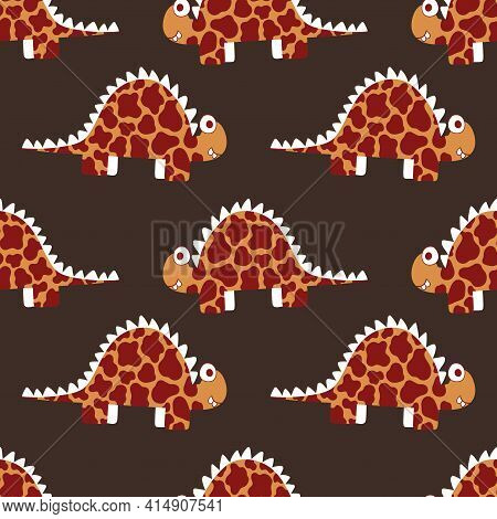 Deep Natural Colors Dinosaur Seamless Pattern Vector. Friendly Cartoon Textured Stegosauruses By Whi