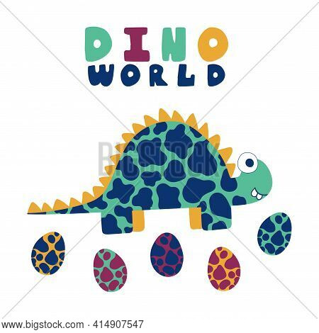 Cartoon Stegosaurus And Eggs Print For Kids Apparel Stock Vector Illustration. Bold Colors Spotted H