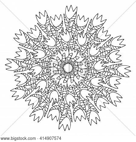 Blossom Tulips Mandala Coloring Page For Adults Stock Vector Illustration. Springtime Mood Detailed