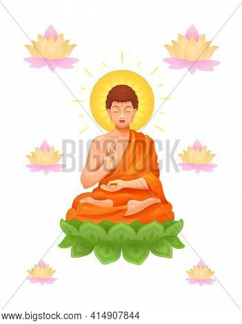 Seated Buddha Over A Round Green Mandala Surrounded By Lotus Flowers. Esoteric Photorealistic Vector