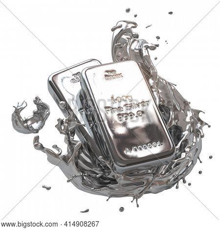 Silver bar or bullion ingot in liquid silver metal splash isolated on white. 3d illustration