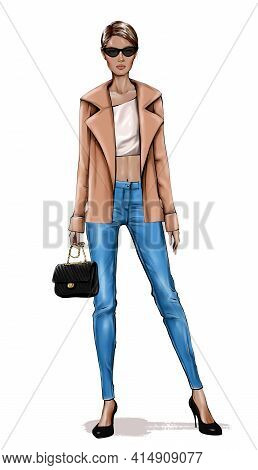 Beautiful Young Woman In Jeans. Fashion Look. Stylish Girl In Jacket. Fashion Girl.