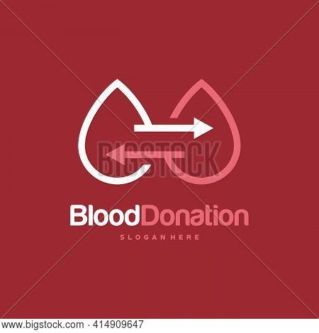 Blood Donor Logo Designs Concept Vector, Blood Transfusion Logo Template, Droplet Symbol Icon Vector