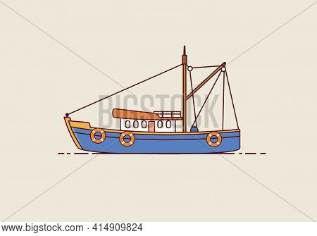Fishing Boat. The Isolated Fishing Boat Icon Design Is Suitable For Logos, Web, Apps, Ui. Boat Vecto