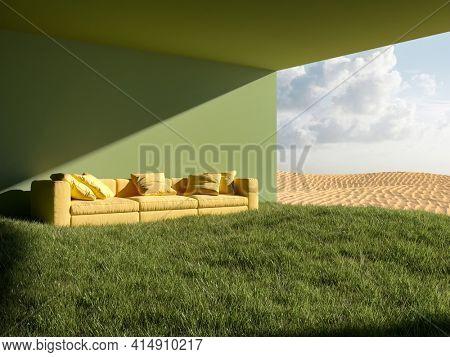 Green house in desert. Sofa on green grass, dream concept. 3D illustration, rendering.