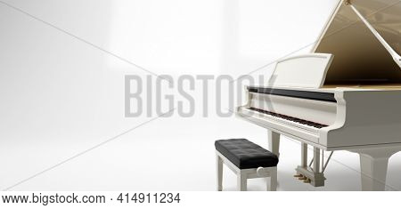 Classic grand piano keyboard on white. 3D illustration