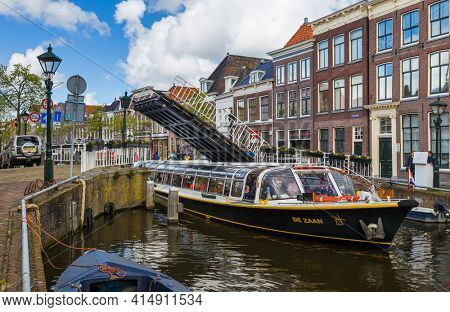 Alkmaar, Netherlands - April 28, 2017: Ship is moving at the channel.