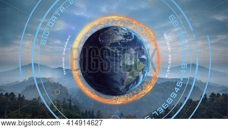 Composition of network of connections and data processing over globe and forest. global technology, business, connection, communication and networking concept digitally generated image.