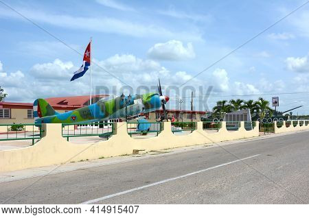 PLAYA GIRON, CUBA - JULY 24, 2016: The Bay of Pigs Museum. Vintage plane, tanks and artillery in front of the museum dedicated to the failed 1961 invasion.