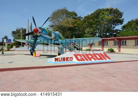 PLAYA GIRON, CUBA - JULY 24, 2016: The Bay of Pigs Museum. Vintage plane in front of the museum dedicated to the failed 1961 invasion.