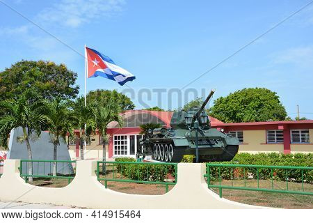 PLAYA GIRON, CUBA - JULY 24, 2016: The Bay of Pigs Museum. Tank and flag in front of the museum dedicated to the failed 1961 invasion.