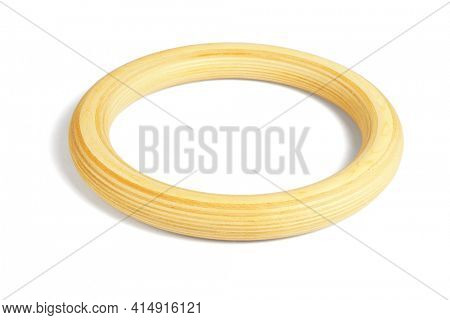 Wooden Circular Ring on White Background