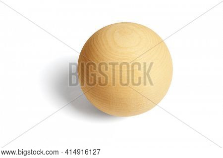 Elevated view of Wooden Ball on White Background