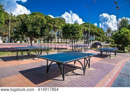 Alanya, Turkey - October 20, 2020: Outdoor table tennis on the promenade near beach in Alanya. Turkey. A place for sports and recreation with a beautiful view of the cost