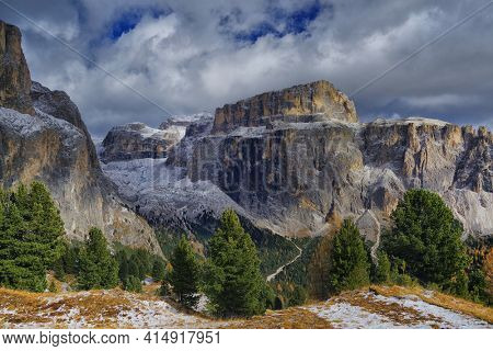 View of Sella gruppe or Gruppo di Sella, South Tirol, Dolomites mountains, Italy