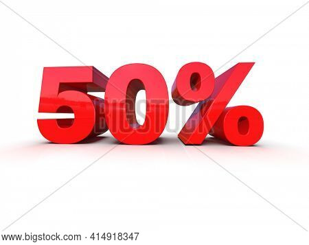 3d Illustration: Percent Sign, Red 50% Percent Discount 3d Sign on White Background, Special Offer 50% Discount Tag, Sale Up to 50 Percent Off, Fifty Percent Letters Sale Symbol, 3D Digit for Promo