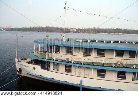 Old steamer. Embankment in historical area. Dnepr river. Exterior. March 29,2021. Kiev , Ukraine