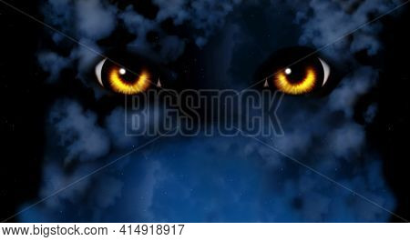 Burning yellow monster eyes and mysterious landscape of night foggy sky. Horizontal fantasy background with cloudy night sky and werewolf eyes