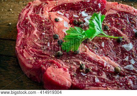Raw dry aged wagyu entrecote beef steak