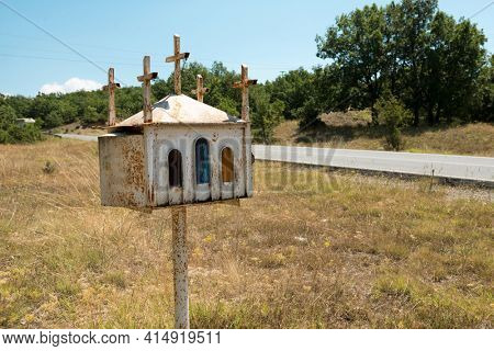 Miniature shrine alongside roads around Meteora, Greece
