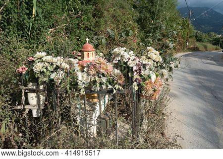 Typical wayside miniature shrine near Paleokastritsa, Corfu Island Greece