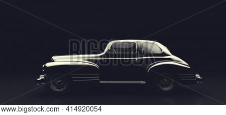 Classic retro car on black. Vintage vehicle. 3D illustration, brandless design