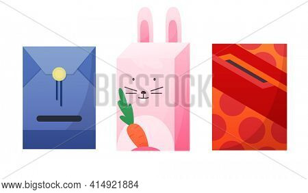 Mailbox. Cartoon mail box  post or postal letterbox of American or European mailing and set of postboxes for delivery mailed letters