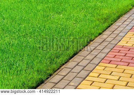 walkway made of paving slabs and green grass as a background, bright sunlight