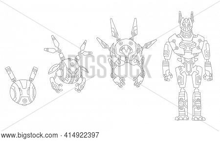 Robot sketchs. Line drawing evolution of robots concept.  isometric robots from simple single-task machine to modern service robotics. Artificial intelligence, alien machine