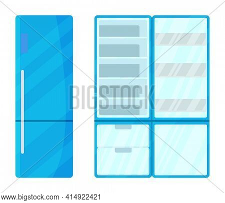 Refrigerator without food. Open, empty and closed fridge, flat  image. Keep food fresh vegetables and fruits