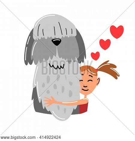 People and pet. Dog pet owner character. Owner hugging dog. Young girl love their animal. Cute and adorable domestic animal.