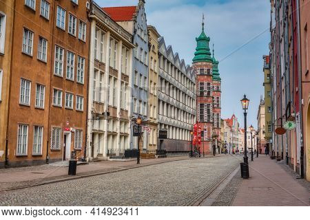 Gdansk, Poland - March 25, 2021: Architecture of the old town in Gdansk, Poland. Baroque architecture of the old town is most notable tourist attractions in Gdansk.