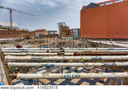 Gdansk, Poland - March 25, 2021: Building constraction at Motlawa river in Gdansk, Poland. Gdansk is the historical capital of Polish Pomerania.