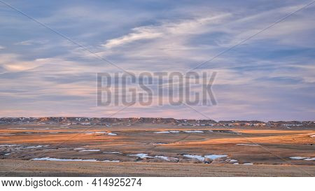 Early spring or winter dusk over badlands in Pawnee National Grassland in northern Colorado (Main Draw OHV Area)