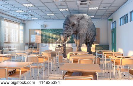 big elephant inside a school. concept of hidden problems. 3d render.