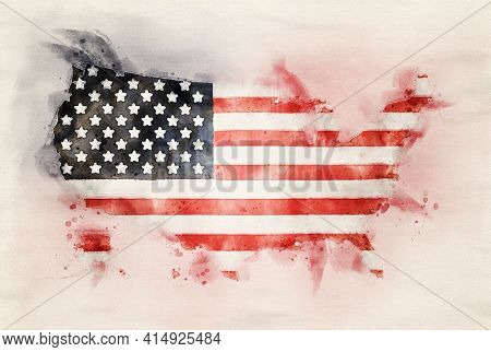 Watercolor painting of American flag