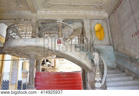 HAVANA, CUBA - JULY 23, 2016: Paladar La Guarida Restaurant staircase. The name La Guarida means means the Hideout. Teh restaurant is located on the third floor of the historic building.