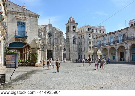 HAVANA, CUBA - JULY 24, 2016: The Cathedral of the Virgin Mary of the Immaculate Conception. In the Baroque style and made primarily of Coral blocks.