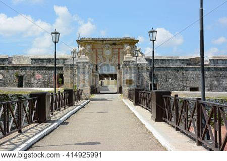 HAVANA, CUBA - JULY 23, 2016: San Carlos de La Cabana (Fort of Saint Charles) entrance. Located on the elevated eastern side of the harbor entrance to Havana.