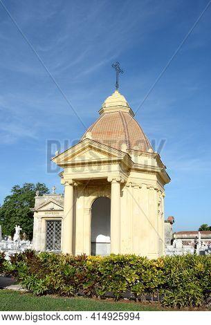 HAVANA, CUBA - JULY 22, 2016: Colon Cemetery. One of the many elaborate mausoleums inside the Colon Cemetery, Havana, Cuba