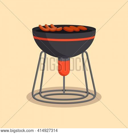 Barbecue or grillbarbecue. Picnic camping cooking. BBQ party. Traditional cooking food, restaurant menu icon. Grill on hot coals. Charcoal grills with delicious grilled meat or sausages