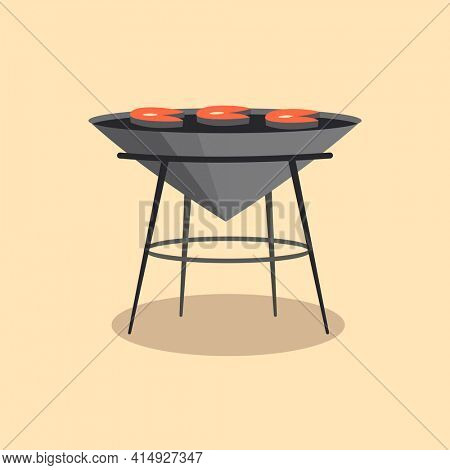 Barbecue or grillbarbecue. Picnic camping cooking. BBQ party. Traditional cooking food, restaurant menu icon. Grill on hot coals. Charcoal grills with delicious grilled meat