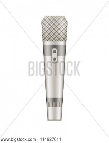 Microphone. Recorder or dictaphone for reporters. Record for multimedia. Audio podcast broadcast or music record technology. Broadcasting concert equipment