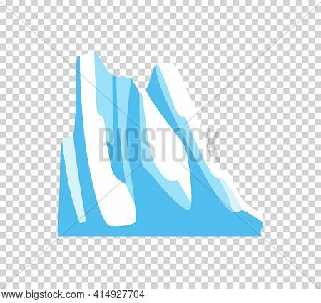 Iceberg. Cartoon floating iceberg. Drifting iceberg or isolated frozen ocean water, crystal icy mountain with snow on transparent background. Icicle in sea or ocean, winter and cold theme