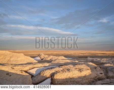 Early spring or winter over badlands in Pawnee National Grassland in northern Colorado (Main Draw OHV Area)