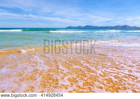 Alcudia Bay North Coast Of Mallorca Spain  . Balearic Sea View Of Cap Farrutx In Mallorca