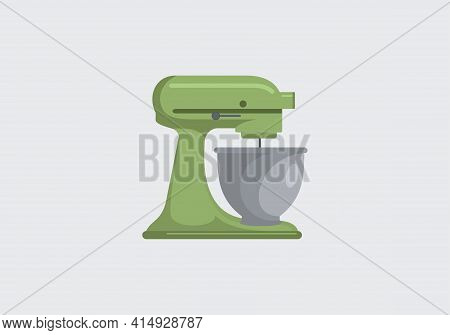 Icon Mixer Green Isolated On White Background. Mixer Design In A Flat Style. Flat Style Mixer Icons