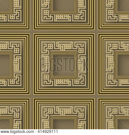 3d Gold Seamless Pattern. Vector Greek Background. Surface Repeat Square Frames Backdrop. Modern Orn