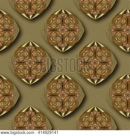 3d Gold Floral Mandalas Seamless Pattern. Arabesque Ornamental Vector Background. Luxury Repeat Back